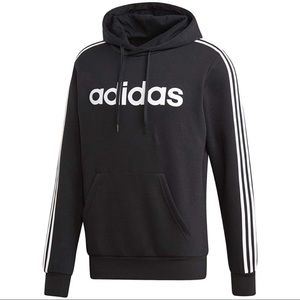 Adidas Black and White Spellout Hoodie Sweatshirt